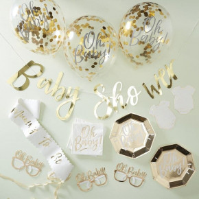 "Baby Shower in a Box, Guld ""Oh Baby!"" Party Kit"