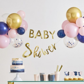 "Guld ""Baby Shower"" Ballon & Guirlande Dekorations Kit"