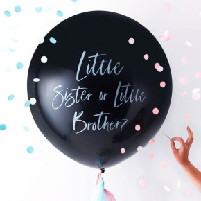 Gender Reveal Konfetti Ballon - Brother or Sister?