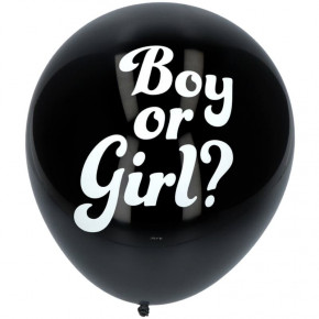 "Gender Reveal Pige - Sorte ""Boy or Girl?"" Balloner"