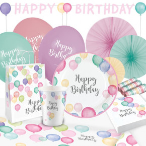 "Pastel ""Happy Birthday"" Party Box, 8 Personer"