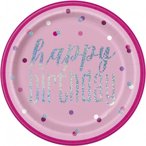 Pink Glitz Happy Birthday Middagstallerkner