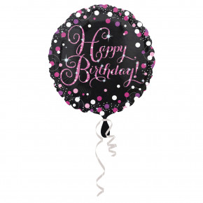 Sparkling Pink Folie Ballon - Happy Birthday